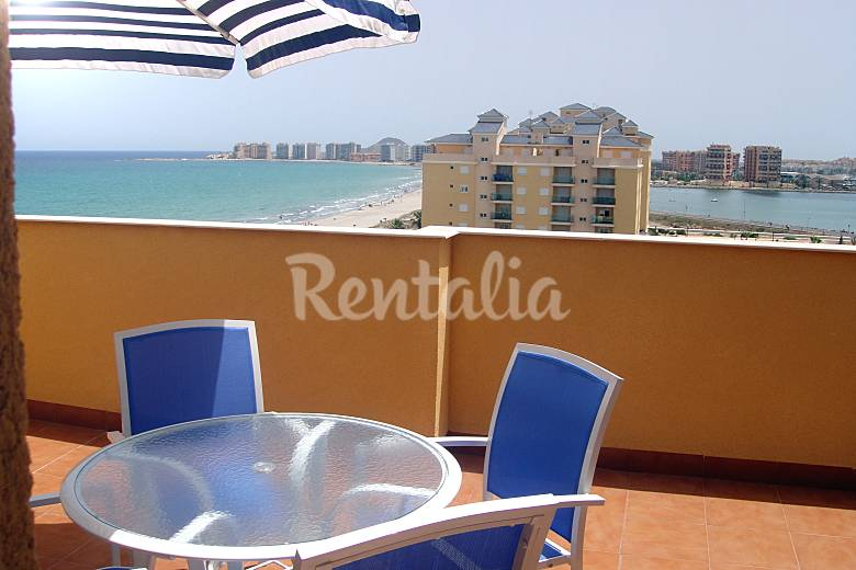 Luxury, double beach front Penthouse, wi-fi, golf Murcia