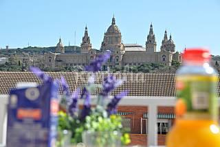 Free shuttle & versace plaza espanya, terrace, sun Barcelona